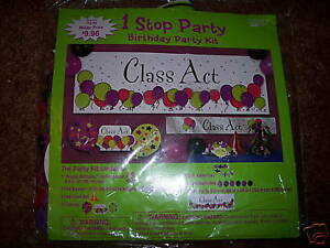 NIP-Paper-Art-1-Stop-Birthday-Party-Kit-Class-Act-Supplies-Office-14-PC-Set-NEW