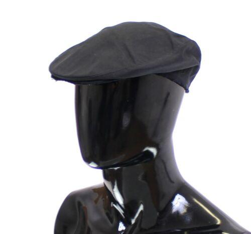 59 L NEW $240 DOLCE /& GABBANA Hat Black Cotton Logo Newsboy Cap Cabbie s