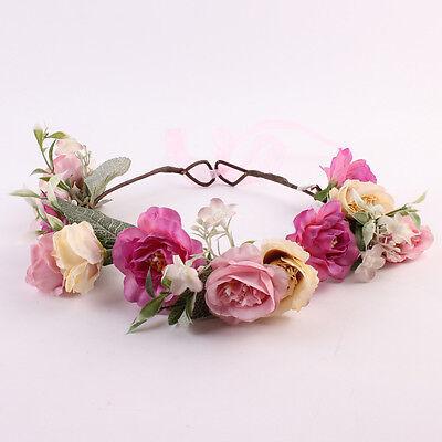 Kids Baby Girls Handmade Flower Hair Band Wreath Headwear Headband Accessories