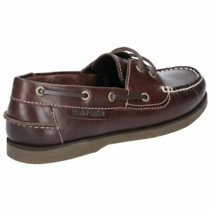 Hush Puppies Henry Mens Brown Classic Smart Leather Casual Boat Shoes Ebay
