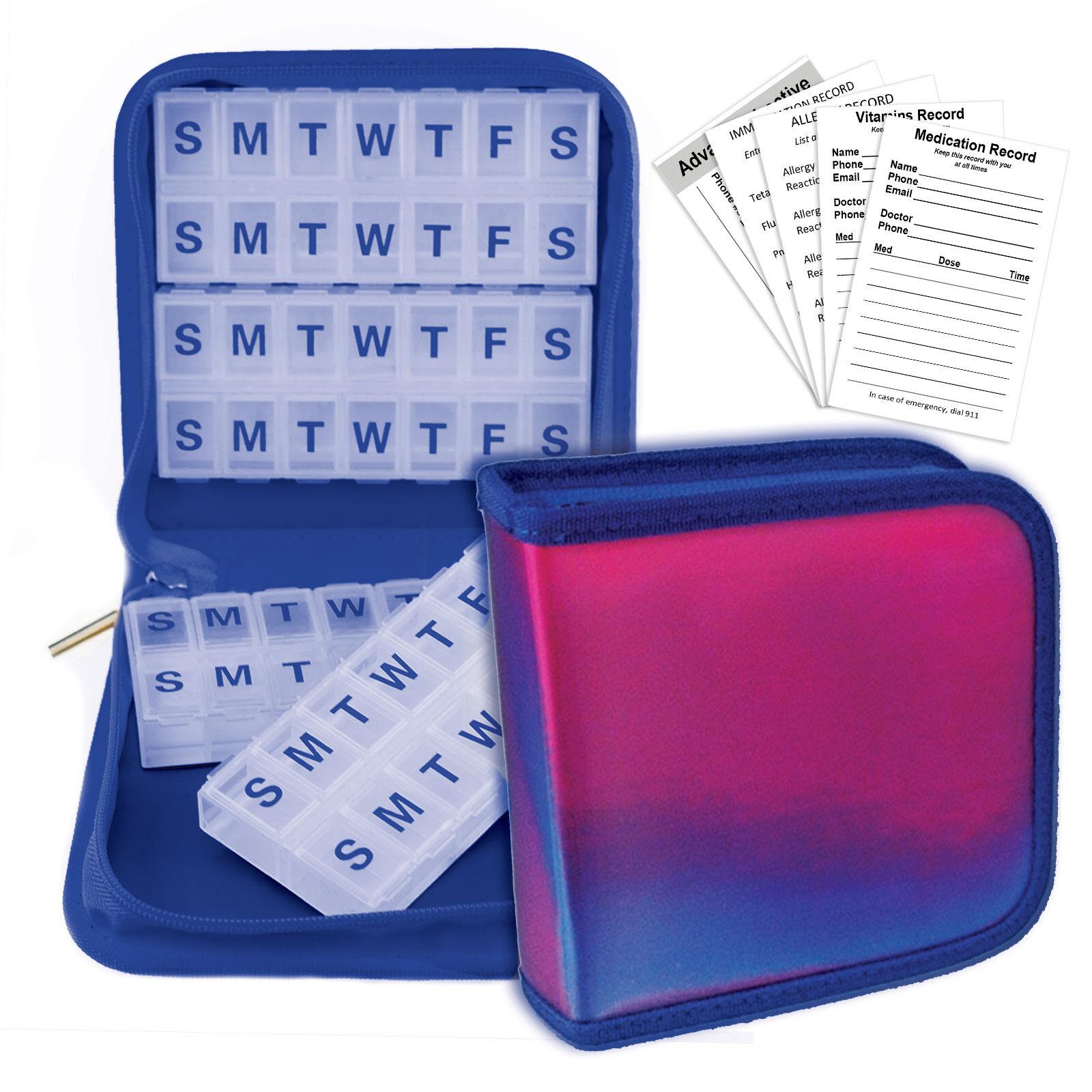 Purple Blue Pill Vitamins Organizer