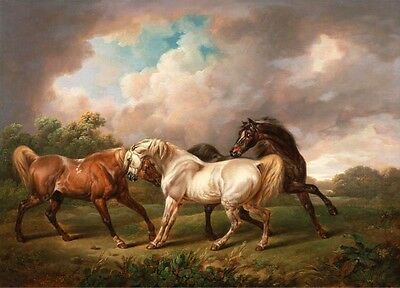 Classical oil painting 4 Four Horses frightened by lightning in storm landscape