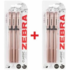 Zebra-Z-Grip-Classic-Ballpoint-Pens-Rose-Gold-Black-Ink-6-Pack