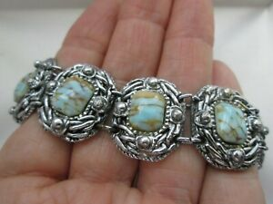 Silver-Tone-Hatched-Turquoise-Glass-Panel-Link-Toggle-ClaspTextured-Bracelet