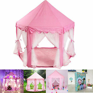 Image is loading Pink-Tent-Princess-House-Castle-Girls-Playhouse-Kids-  sc 1 st  eBay & Pink Tent Princess House Castle Girls Playhouse Kids In/Outdoor ...