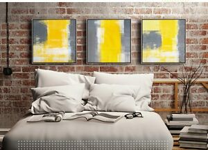 3 pieces Large Modern Art Wall Decor Canvas With or Without Wood Frame Yellow
