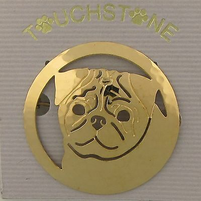 Pug Jewelry Gold Pin by Touchstone Dog Designs