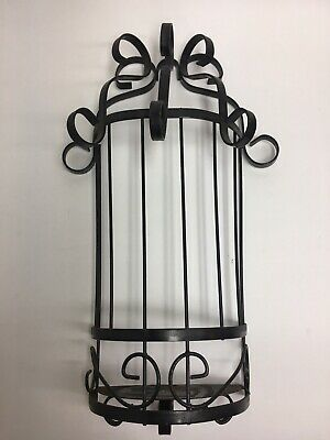 Vintage Wrought? Iron Wall Sconce Candle Holder Black ... on Wrought Iron Outdoor Candle Sconces id=18018