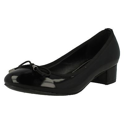 Damen schwarz/marineblau gepunktet Block Absatz Schuhe UK Sizes 3 - 8 f9814