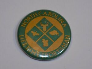 North Carolina Lifetime Sportsman NC Pin Vintage Old Metal Button Round Pinback