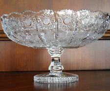 """Bohemian Czech Vintage Crystal 8"""" Pedestal Bowl Hand Cut Queen Lace 24% Lead"""