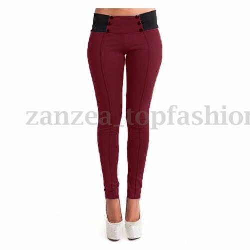 US XS-3XL Elegant Office Ladies High Waist Skinny Pencil Pants Trousers Leggings