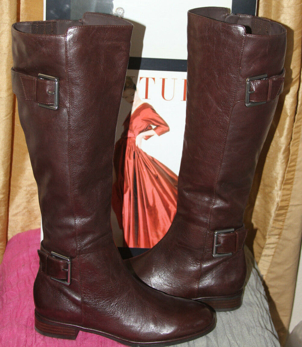 NEW VIA SPIGA IDELISSA CHOCOLATE BROWN LEATHER KNEE HIGH BOOTS     SZ 5   250