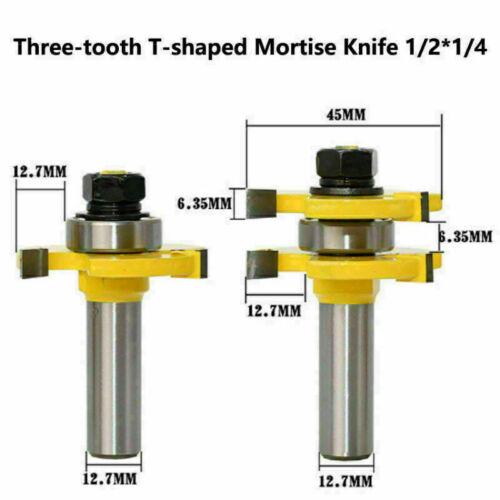 "2 Bit T-shape Tongue /& Groove Router Bit Set 3//4/"" Stock 1//4/"" Shank Wood Milling"