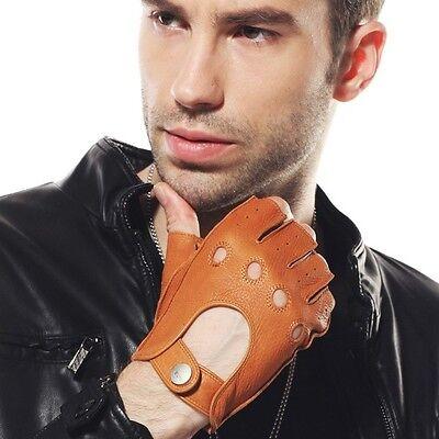 Men's Deerskin Leather Fingerless Half Finger Motocycle Driving unlined Gloves
