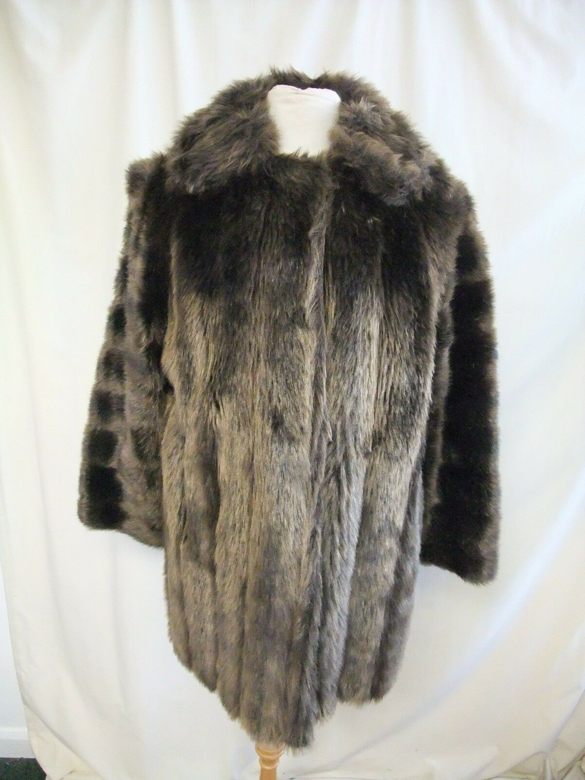 Ladies Coat size S, brown faux mink fur, lined, heavy & warm, used but good 1980