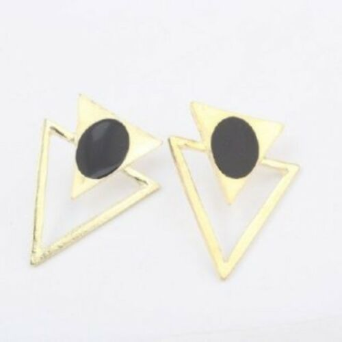 New!! Gold Tone Triangle Drop Stud Earrings with Black Circle