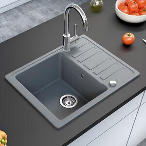 BERGSTROEM Évier de cuisine en granit encastré réversible 575x460 ...