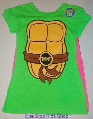 NINJA TURTLES Girls 4 5 6 6X 7 8 10 12 14 16 Costume SHIRT & CAPE Top TMNT