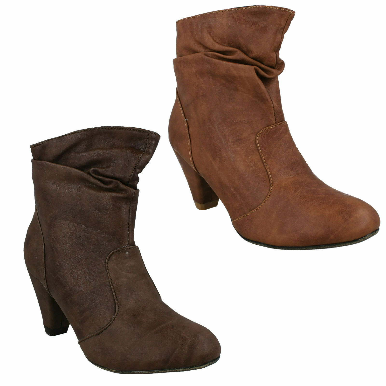 F5R818 WOMENS LADIES ZIP UP RUCHED SHOES CONE HEEL ANKLE BOOTS SPOT ON £9.99
