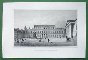GERMANY-Munich-Royal-Palace-Konigsbau-Antique-Print-Engraving