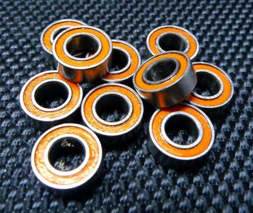 MR105-2RS 5x10x4 mm Metal Rubber Ball Bearing Bearings Orange MR105RS 100PCS