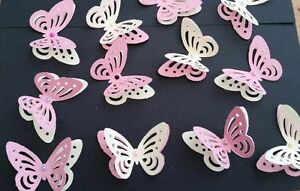 Details About 24x Wedding Birthday Table Decorations 3d Butterflies Pink And Yellow