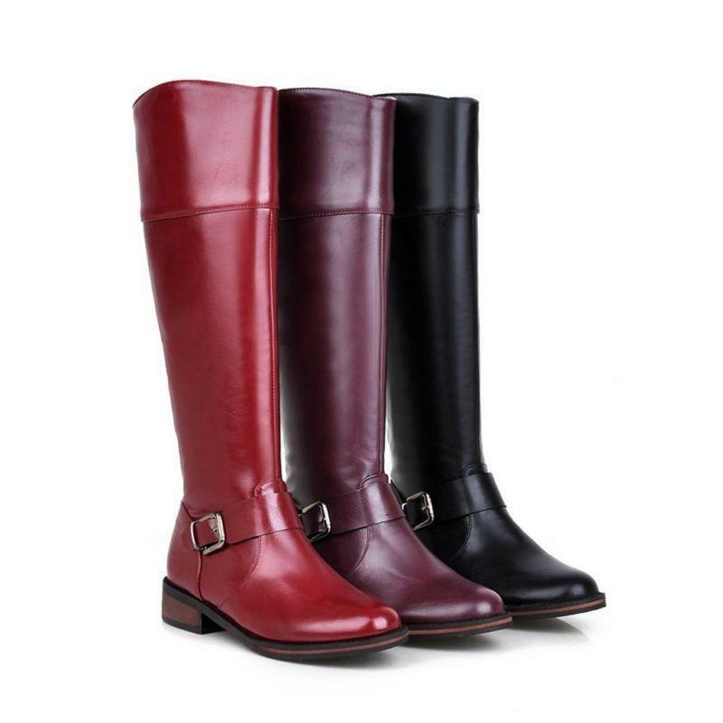 SZ US4-11 Fashion riding boots Womens  flats knee high boots faux leather zip up