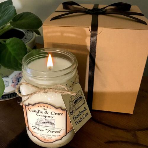 Pine Forest Mason Jar 16oz Fall Soy Candle Handmade smells AMAZING!