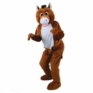 Horse-Mascot-Costume-Suit-Cosplay-Fancy-Dress-Outfit-Adult-Advertising-Party-NEW