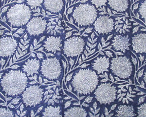Cotton Fabric Dressmaking Craft Sewing 46 Inches Hand Block Om Print By 1 Yd