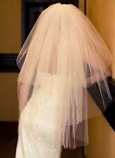 """3T 3 Tier Sheer Ivory No Trim Fingertip Knee 38"""" Layer Wedding Veil W/ Comb X1-"""