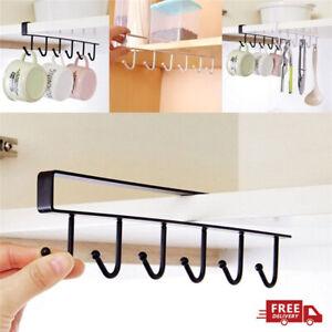 6 Hooks Shelf Cup Mug Holder Hanger Storage Rack Cabinet Hook Kitchen Organizer