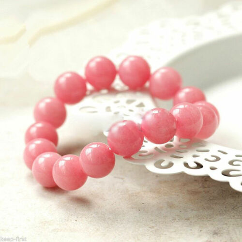 "10 Mm Naturel Rose Morganite Round Gemstone Beads Stretch Bracelet 7.5/"" AAA"