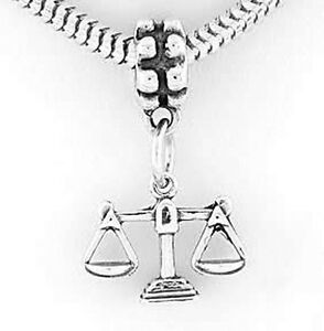 Avoir Un Esprit De Recherche Sterling Silver Dangling Scales Of Justices Law European Bead