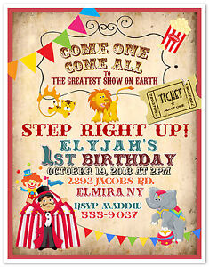 10 circus carnival clown birthday party invitations custom printed