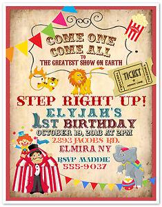 10 circus carnival clown birthday party invitations custom printed, Party invitations