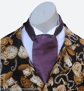 Aubergine-CRAVAT-Victorian-Edwardian-Georgian-costume-fancy-dress