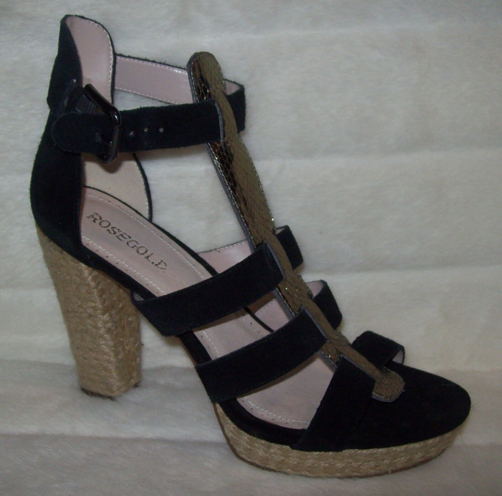 Rosegold Pana Platform Buckle Closure Platform Pana Heels Sandales Schuhes 39.5 US 9.5 NEW be25e2