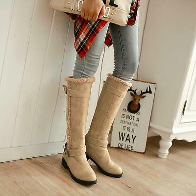 Stylish Women's Knee High Boots Warm snow Boots Ladies winter Buckle Shoes Hot