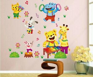 Kinder-Elefant-Giraffe-Tierwelt-Wandtattoo-Wandsticker-Aufkleber-Wandaufkleber