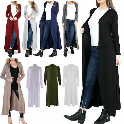Women Ladies New Long Stretchy Maxi Long Crochet Cardigan//Jacket UK 8-16 COLOURS