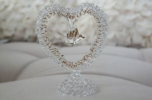 Vintage-Hand-Blown-Glass-Flying-Bird-In-Heart-with-Gold-Trim-Decor-Figurine