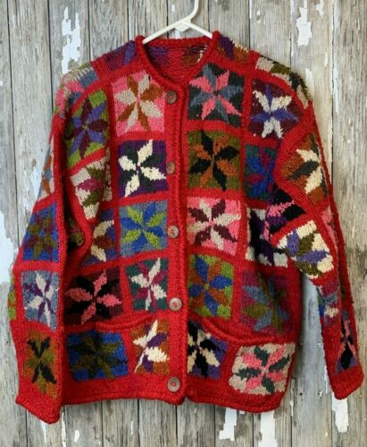 overcoat Hand crochet vintage cardigan with colorful flower embroidery Boho Hippie blazer Festival long jacket