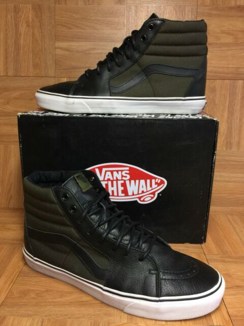 07bc51a79853 RARE🔥 VANS Sk8-Hi Tech Loden Olive Army Green Boot Black Leather Sz 13