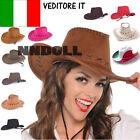 Cappello COWBOY COWGIRL hat cappellino scamosciato carnevale festa party HUT5