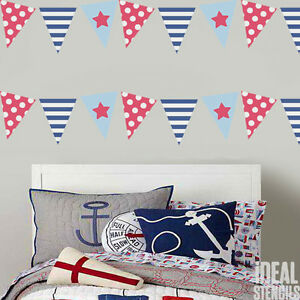 Image Is Loading Flag Bunting Stencil Seaside Flag Bedroom Nursery Home