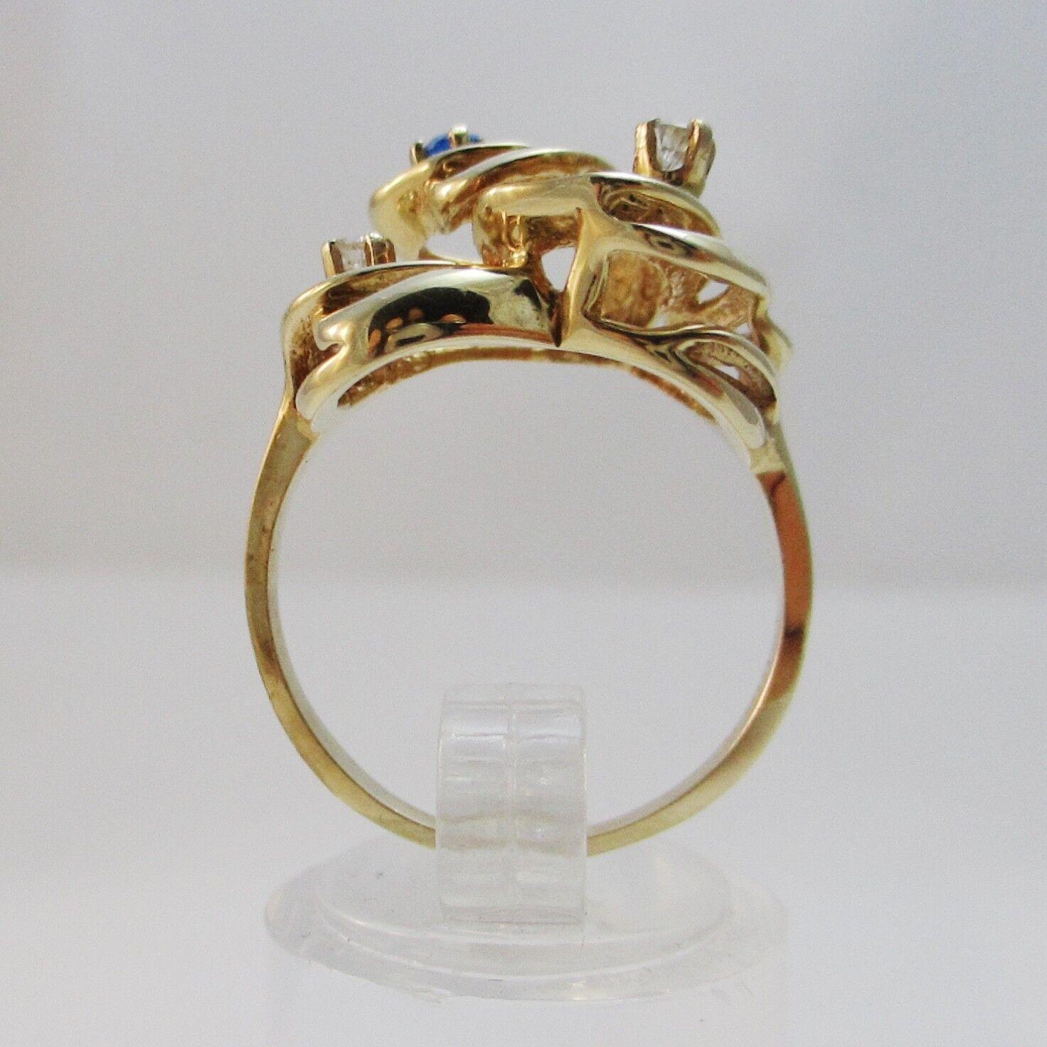 Splendido 14k oro Diamante & blu Gem Set Set Set Anello in stile liberty. O1 2 d76917