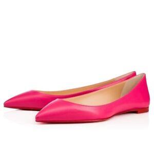 aba0e75c1c9 Image is loading Christian-Louboutin-Ballalla -Pink-Leather-Ballerina-Point-Toe-
