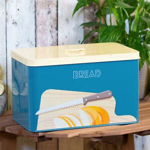 Blue-Bread-Bin-Storage-Crock-Container-Kitchen-Decor-Worktop-Holder-Cake-Tin